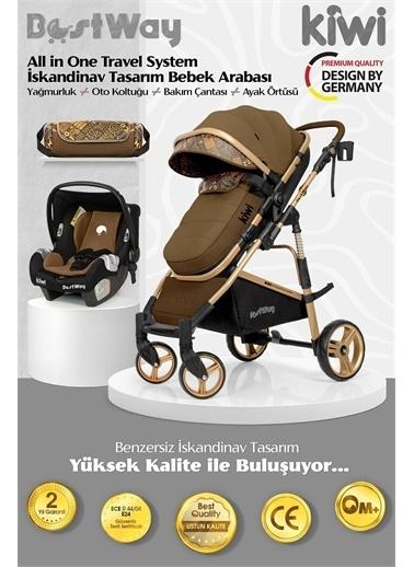 Kiwi BestWay All in One Travel Sistem İskandinav Tasarım Bebek Arabası, Oto Koltuğu, Bakım Çantası Kahve
